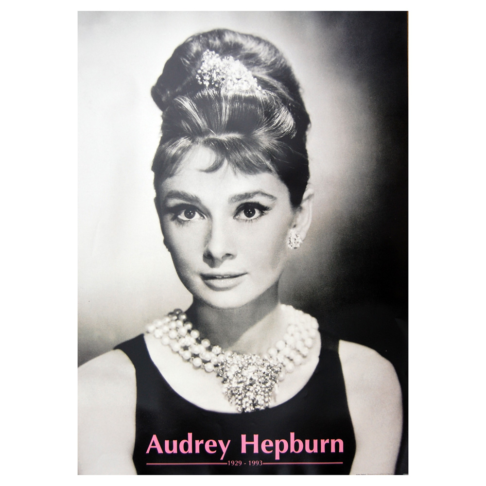 audrey hepburn necklace poster. Black Bedroom Furniture Sets. Home Design Ideas